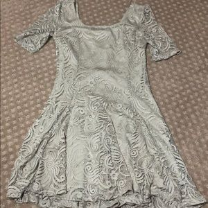 tan lace detailed dress